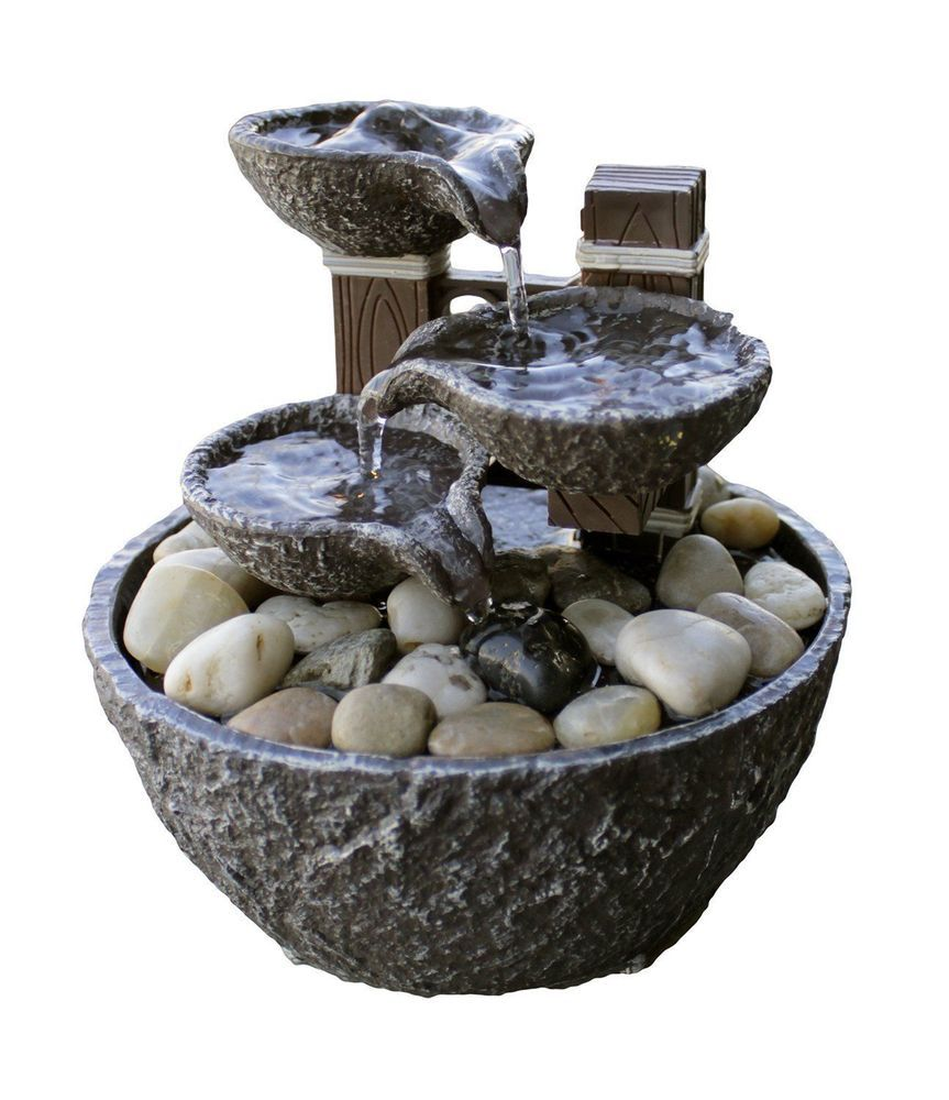 Tiered Rock Bowl Dual Power Led Fountain With Natural River Rocks