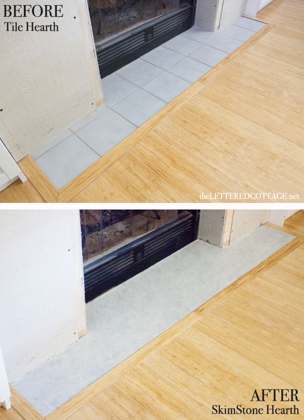 Diy concrete fireplace hearth the lettered cottage for Concrete mantels and hearths