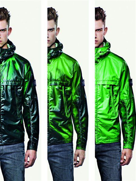 c73e39426084c6 ... Jacket by Stone Island, a tracksuit top which changes colour from black  to green/ blue once it has reached 27 degrees. The fabric that is cotton  nylon ...