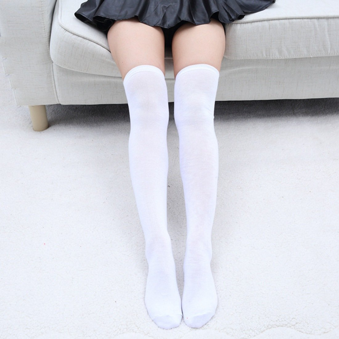 Neaer Winter Warm Thick Striped Cotton Stockings Thigh High Womens Girls Lady Long Stocking Over Knee For College Student