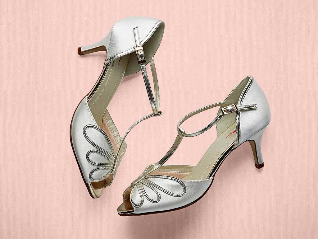 Harlow Peep Toe Satin Shoe Blue Bridal Shoes Wedding Shoes Satin Shoes