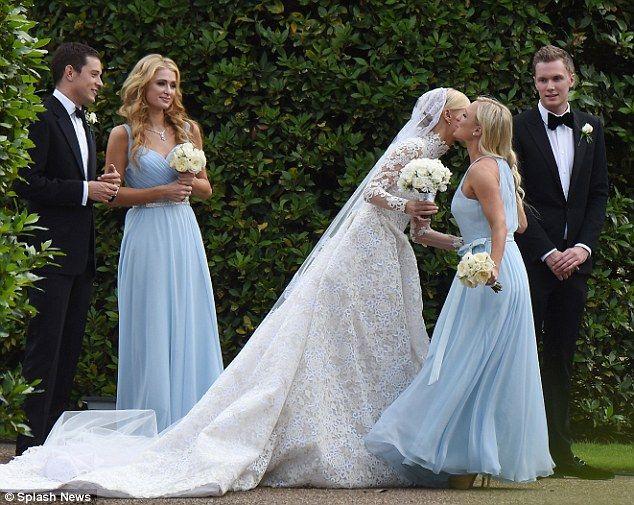Nicky Hilton Celebrates One Week Wedding Anniversary Movie Wedding Dresses Powder Blue Bridesmaid Dress Ball Gown Wedding Dress