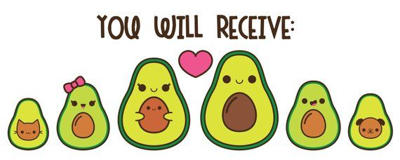 Avocado Clipart Kawaii Avocado Illustraties Schattige Avocado