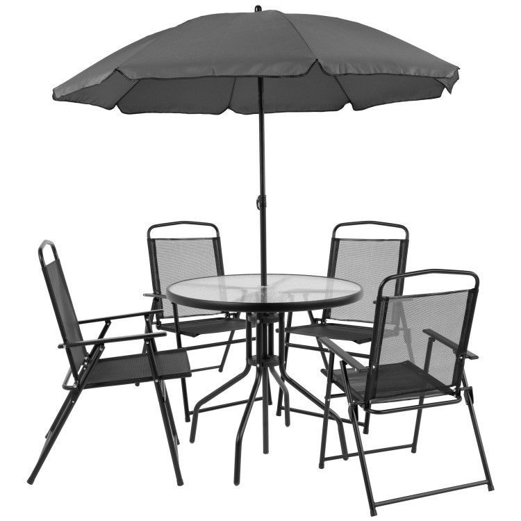 Details About Plastic Patio Garden Set Of 6 Round Table Folding