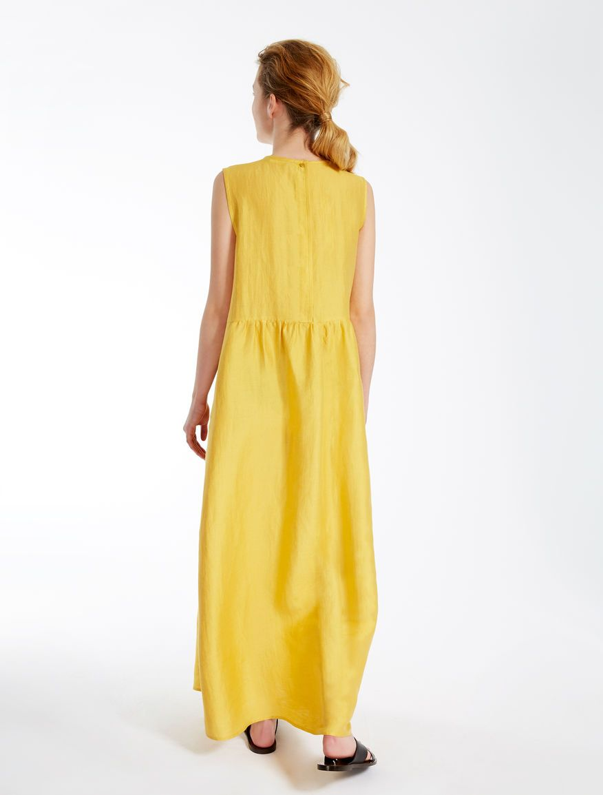 Linen And Silk Dress Yellow Weekend Max Mara