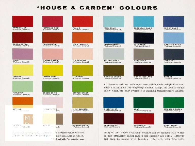 A fold out leaflet of a paint chart by International Paints Ltd in