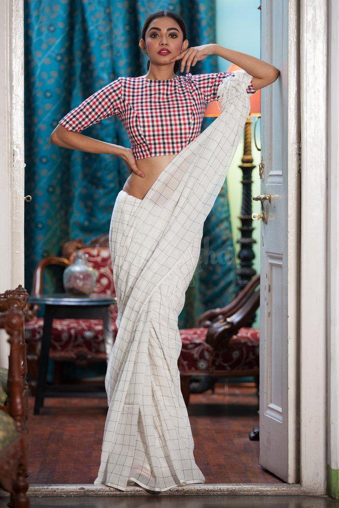 7da3cf00d0 White Box Check Cotton Handloom Saree | Sarees | Cotton saree blouse ...