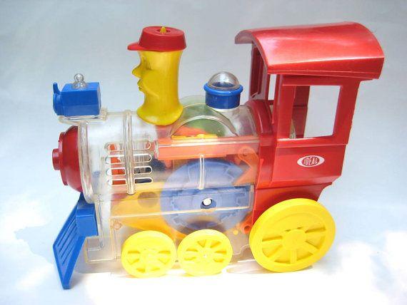 Vintage 1974 Ideal Toy Train Mr Machine Wind Up See Through