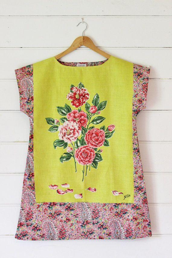 5a0d71072f Upcycled Linen Tea Towel Tunic Women Yellow Pink Paisley Roses Floral  Fifties Retro Medium Cotton Australian Made