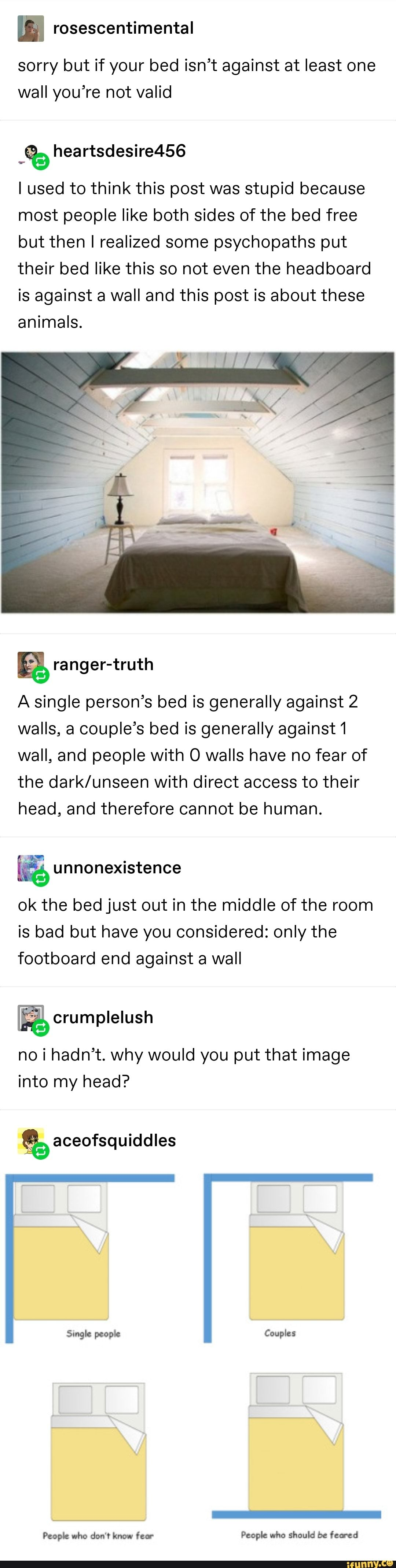 Picture memes EUlpUALx6: 2 comments — iFunny sorry but if your bed isn't against at least one wall you're not valid .% I used to think this post was stupid because most people like both sides of the bed free but then I realized some psychopaths put their bed like this so not even the headboard is against a wall and this post is about these animals. A single person's bed is g...