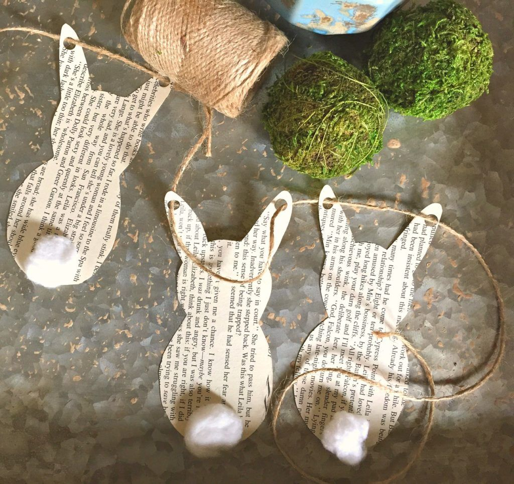 Make this simple spring book page bunny garland with supplies you probably already have around the house.