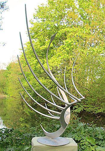 Abstract Contemporary Garden Sculpture Of A Swan In Metal