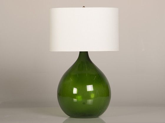 Beautiful A Large Hand Blown Green Glass Jar Used For Transporting Wine From France  Converted To A Table Lamp.