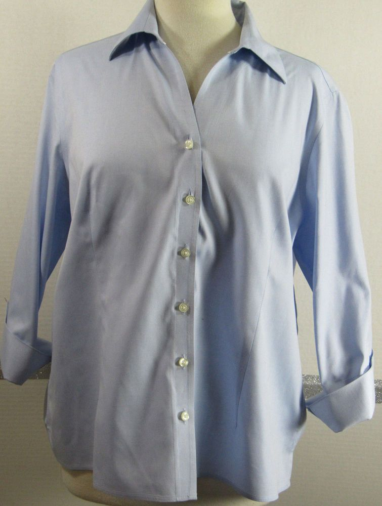 Lands End No Iron Pinpoint Oxford 16p 100 Baumwolle Light Blue Euc