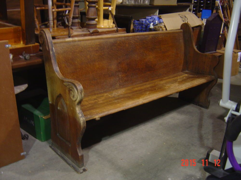 antique beautiful 72 inch wide antique church pew 100 years old ornate primitive - Church Pew