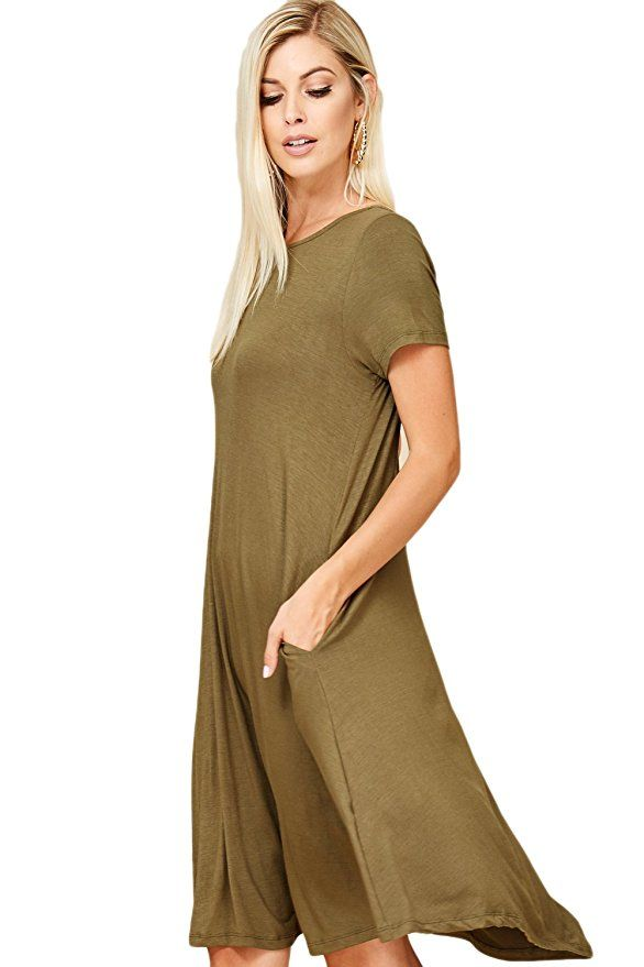 Annabelle Women's Comfy Short Sleeve Scoop Neck Swing Dress |Spring Outfits  Dresses Casual