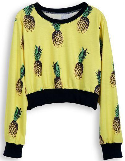Yellow Long Sleeve Pineapple Print Crop Sweatshirt pictures