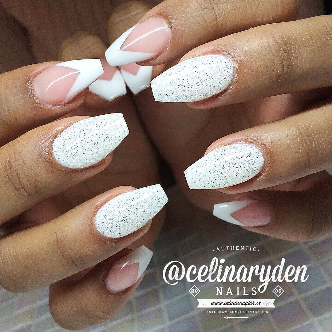 Glittery White Ballerina Nails Nails Pinterest Manicuras