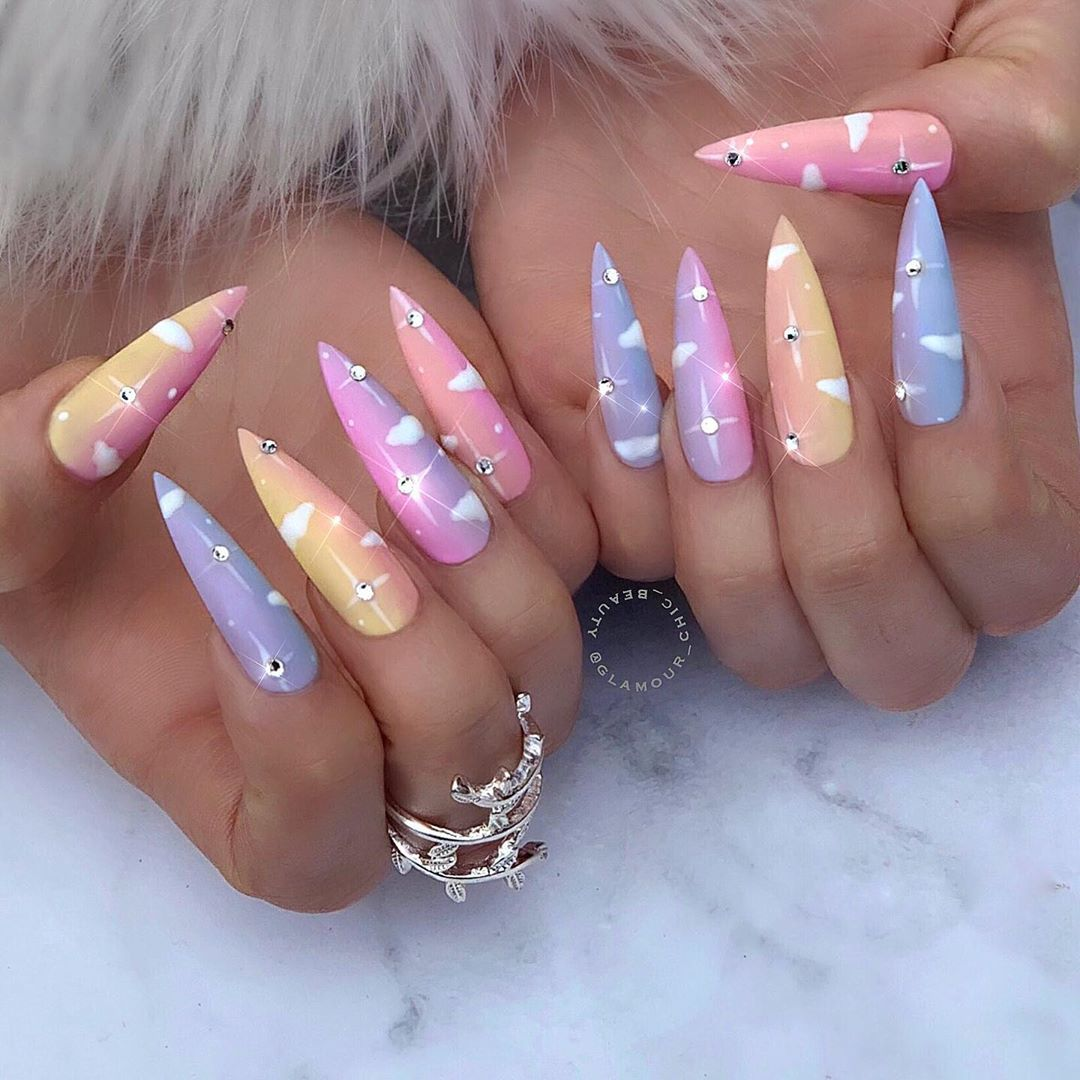 Luxury Nail Lounge Gold Coast On Instagram Head In The Clouds Afterpay Available By Our Senio Luxury Nails Pretty Acrylic Nails Long Nail Designs