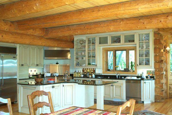 Decoration Extraordinary Log Cabin Kitchens Designs Using Wood Frame Casement Windows Alongside Log Home Kitchens Log Home Kitchen Distressed Kitchen Cabinets
