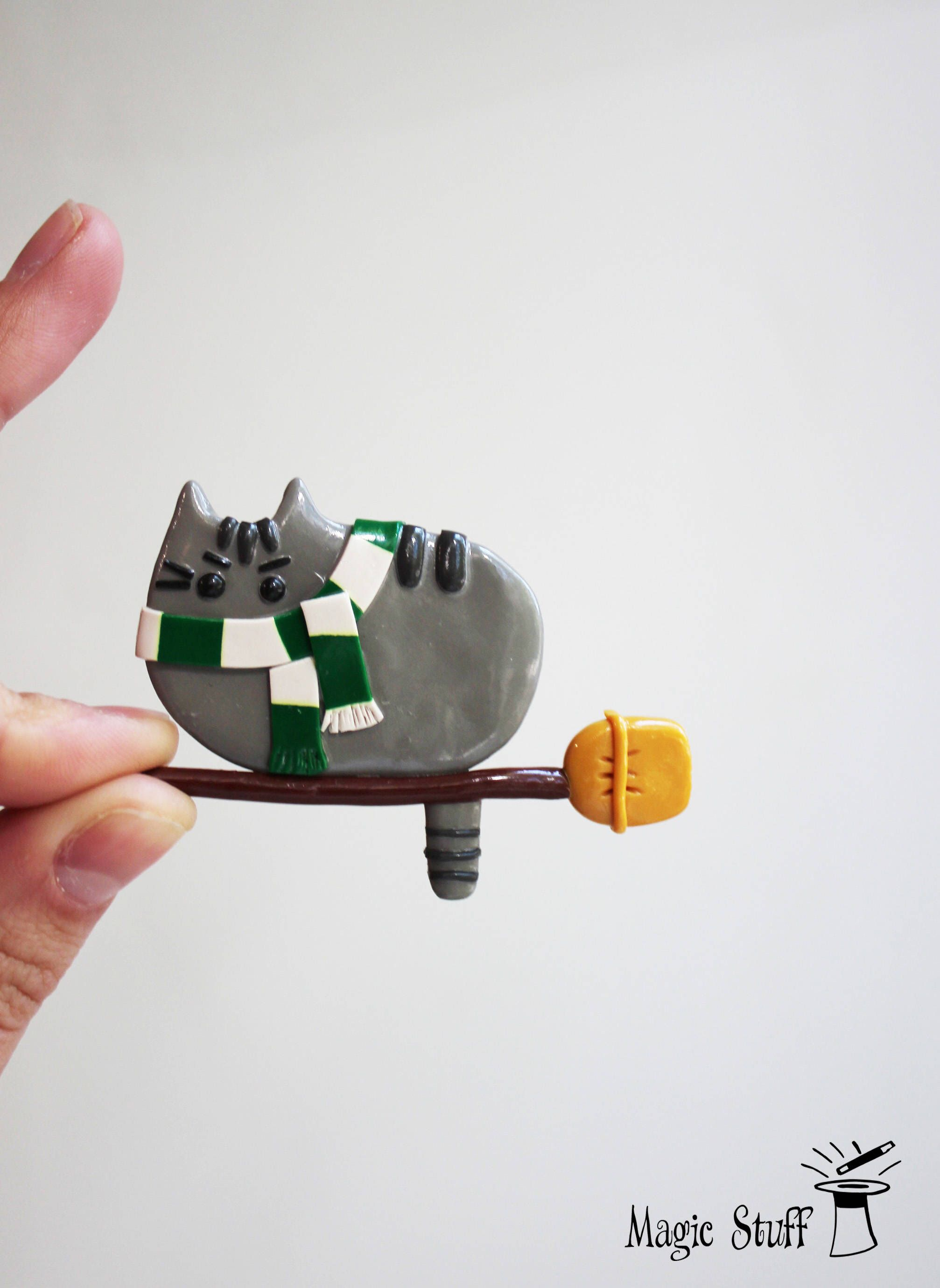Exceptional Slytherin Cat Draco Malfoy Pusheen Brooch Pusheen Pin Pusheen Badge Kawaii  Cat Kitty Pin Harry Potter