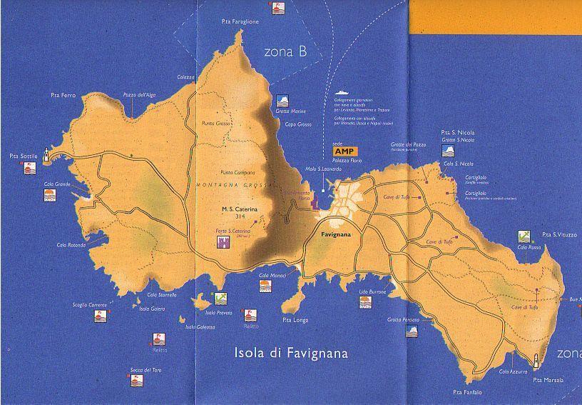 Carte de Favignana Sicile Africaine Ouest Pinterest Italy