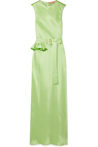 + NET SUSTAIN Take a Bite belted ruffled silk maxi dress