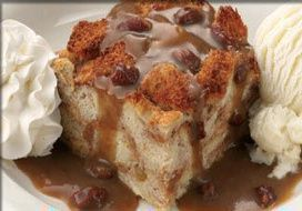 Famous Daves Bread Pudding. Best bread pudding I have ever tasted. Served warm with pecan praline sauce.