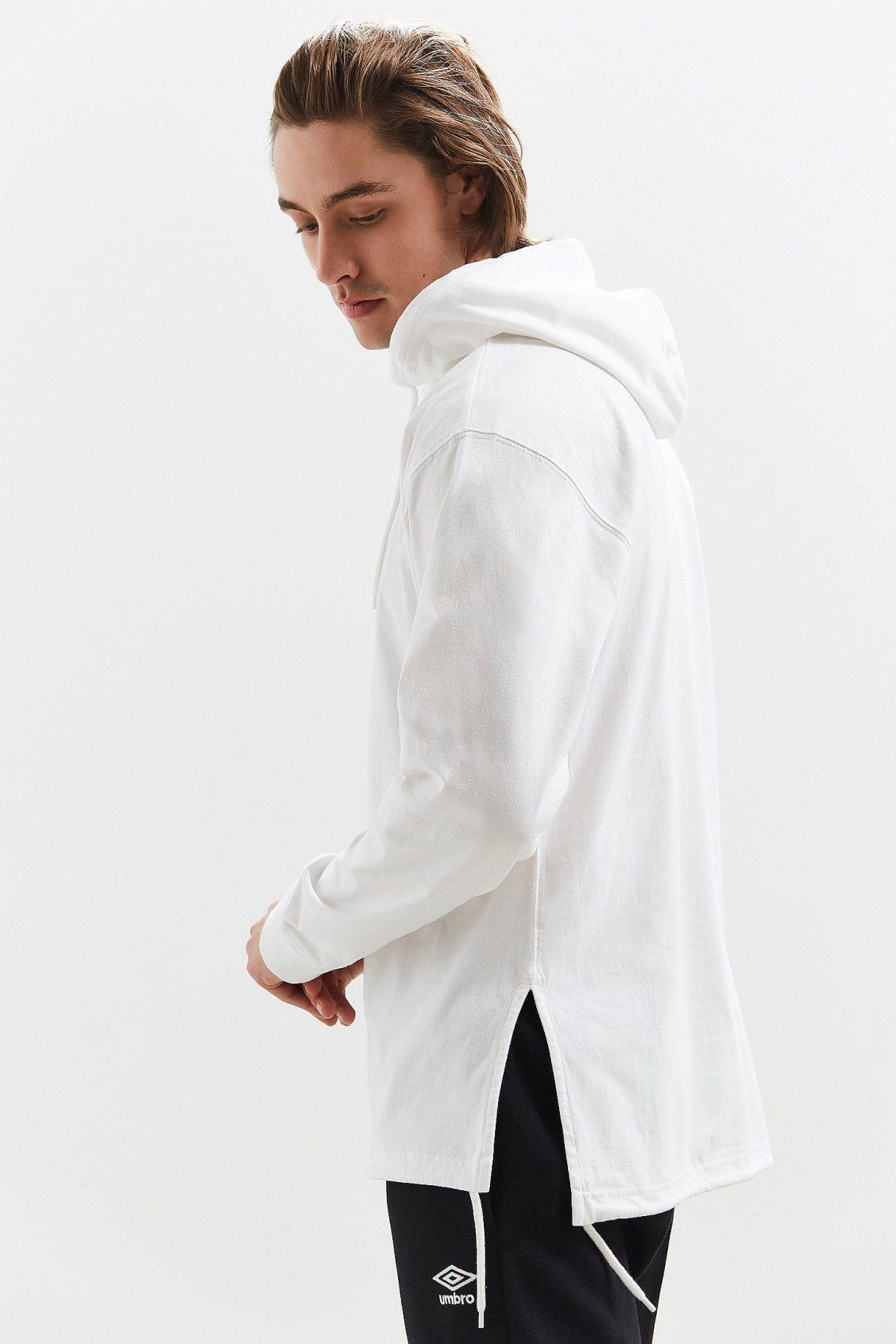 Uo tie split hooded long sleeve tee urban outfitters new