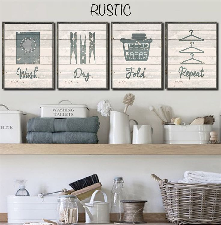 Laundry Room Accessories Decor: Set Of 4! Lovify Your Laundry