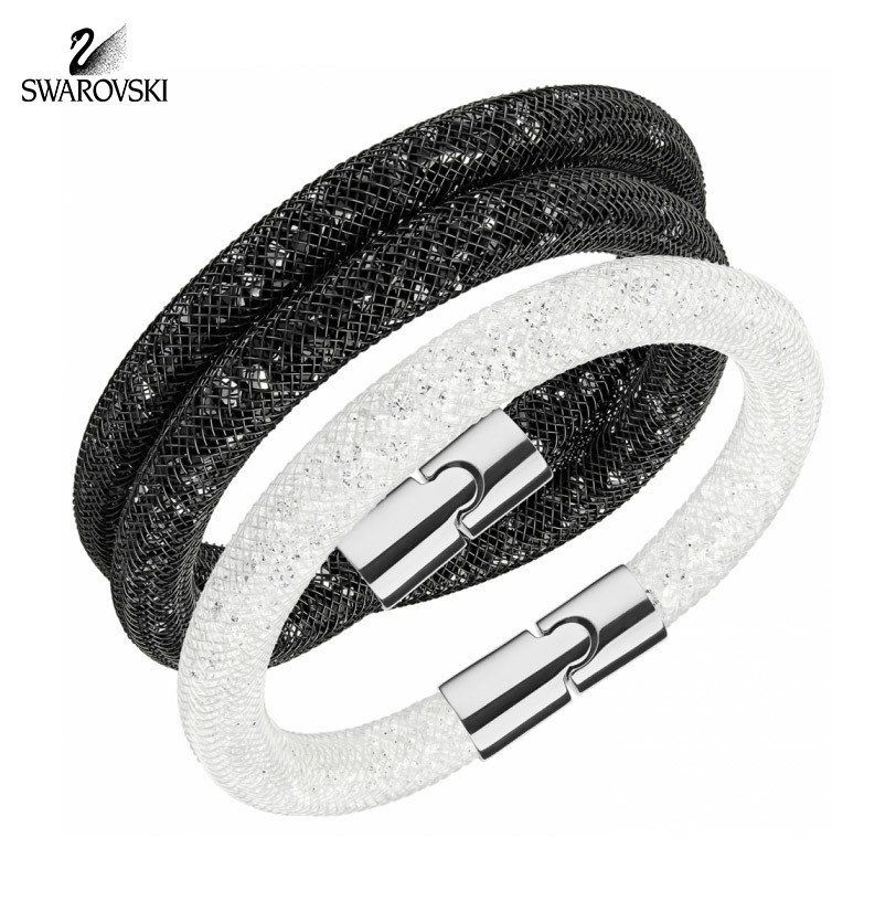 dda6b944c291f Swarovski Bracelets Set STARDUST Double Jet Black/ Single White ...