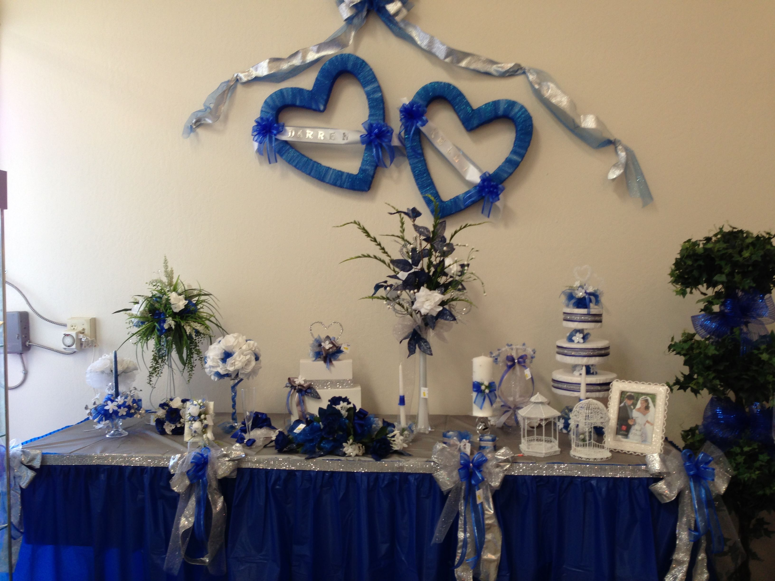 Royal Blue Silver And White Bows Candle Embellishments Baskets Halo Centerp Blue Wedding Centerpieces Blue Wedding Decorations Silver Wedding Decorations