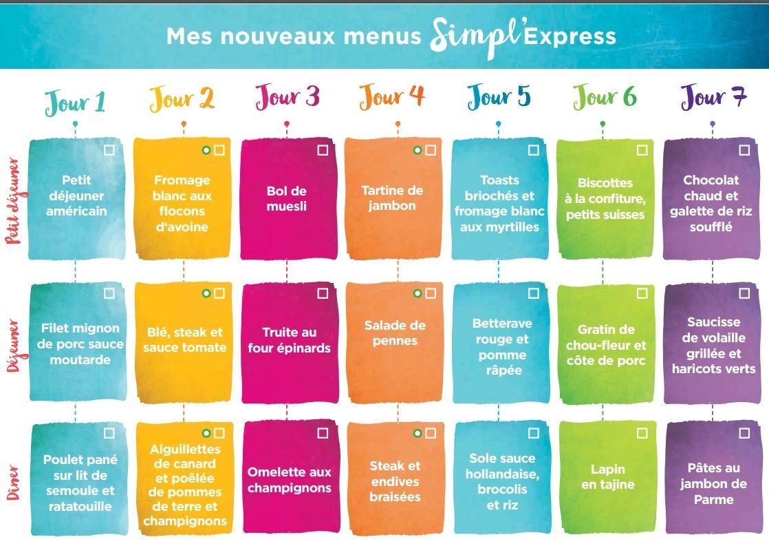 Idée Menu Semaine Simple 2ème semaine de menus simpl'express   KANISETTE | Menu minceur