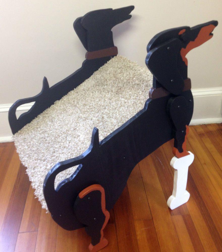 Handmade Wooden Dachshund Pet Ramp Steps Stairs Doxie Hot Dog Wiener