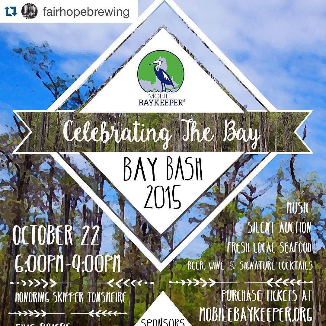 #Repost @fairhopebrewing with @repostapp.  Check out the Bay Bash this Thursday night at Five Rivers. You can drink a bunch of our beer and support @mobilebaykeeper! #greatcause #greatbeer