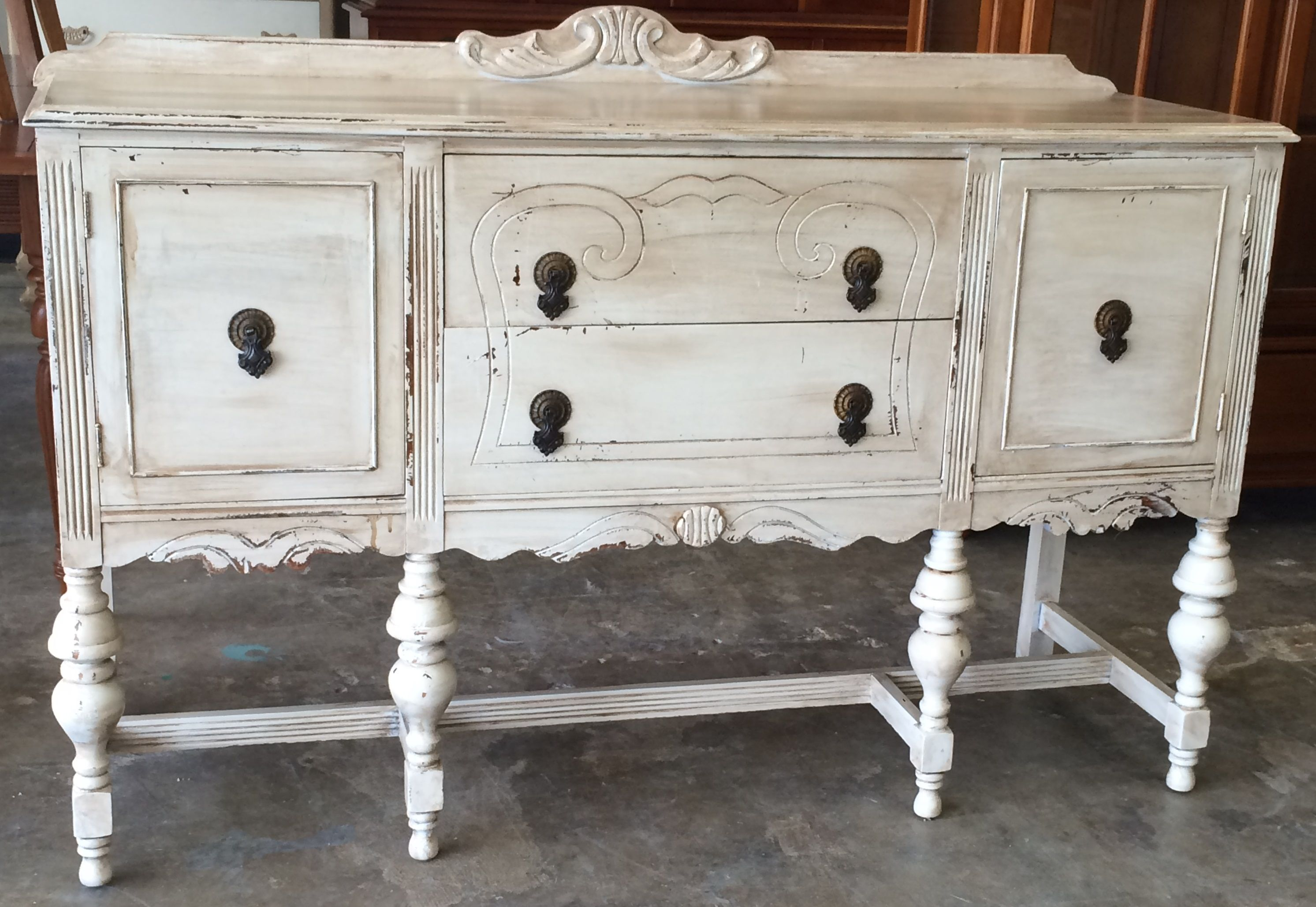 Check Out This Gorgeous Antique Buffet We Were Able To Bring It Back To Life And Paint It Antique Wh Shabby Chic Buffet Shabby Chic Dresser Furniture Makeover