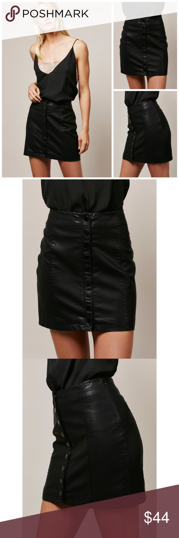 33379e974 Free People Oh Snap Vegan Leather Black Skirt Free People Oh Snap Vegan  Mini Skirt in Black $78 retail brand new without tag perfect condition  except for a ...