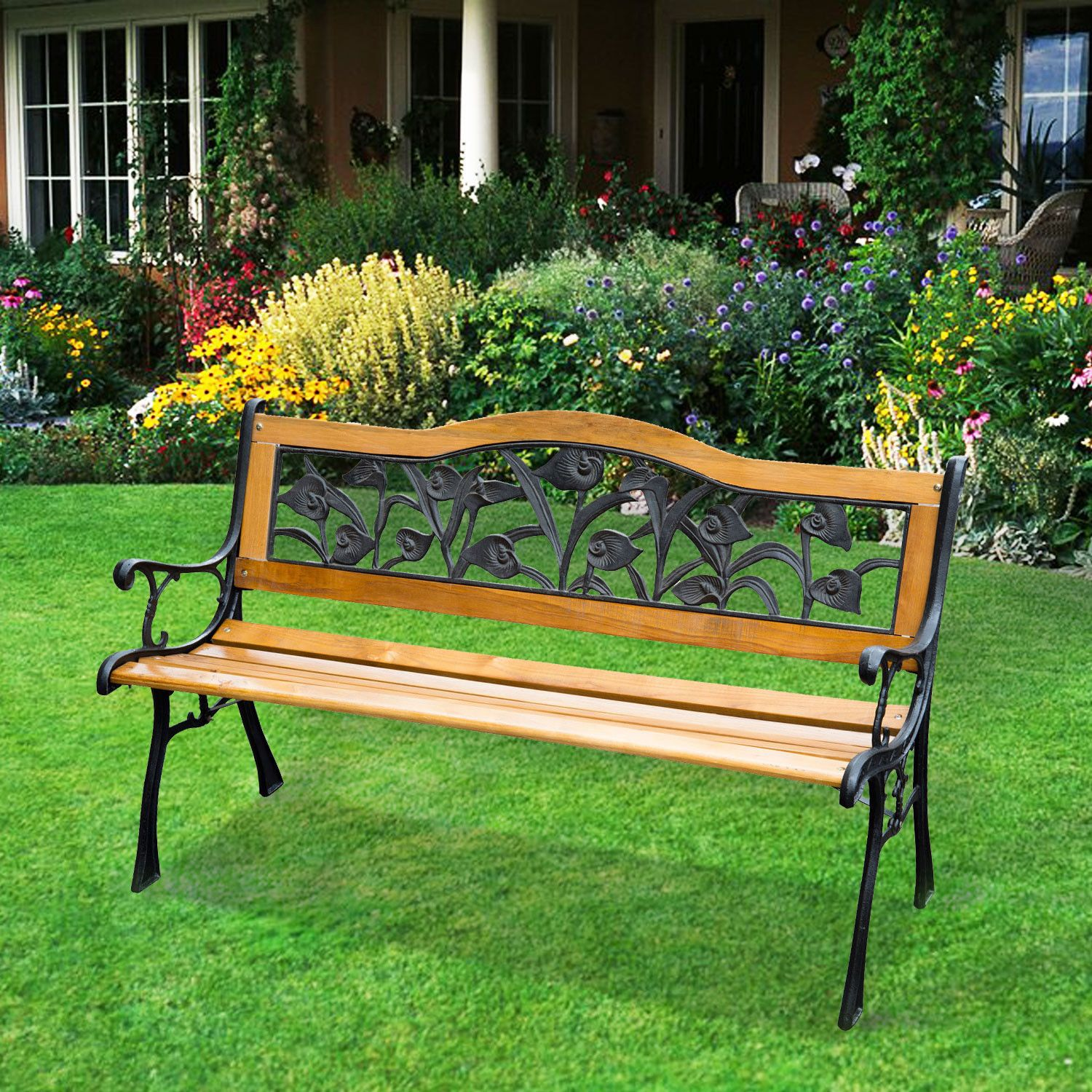Fabulous Patio Park Garden Bench Porch Chair Furniture Cast Iron
