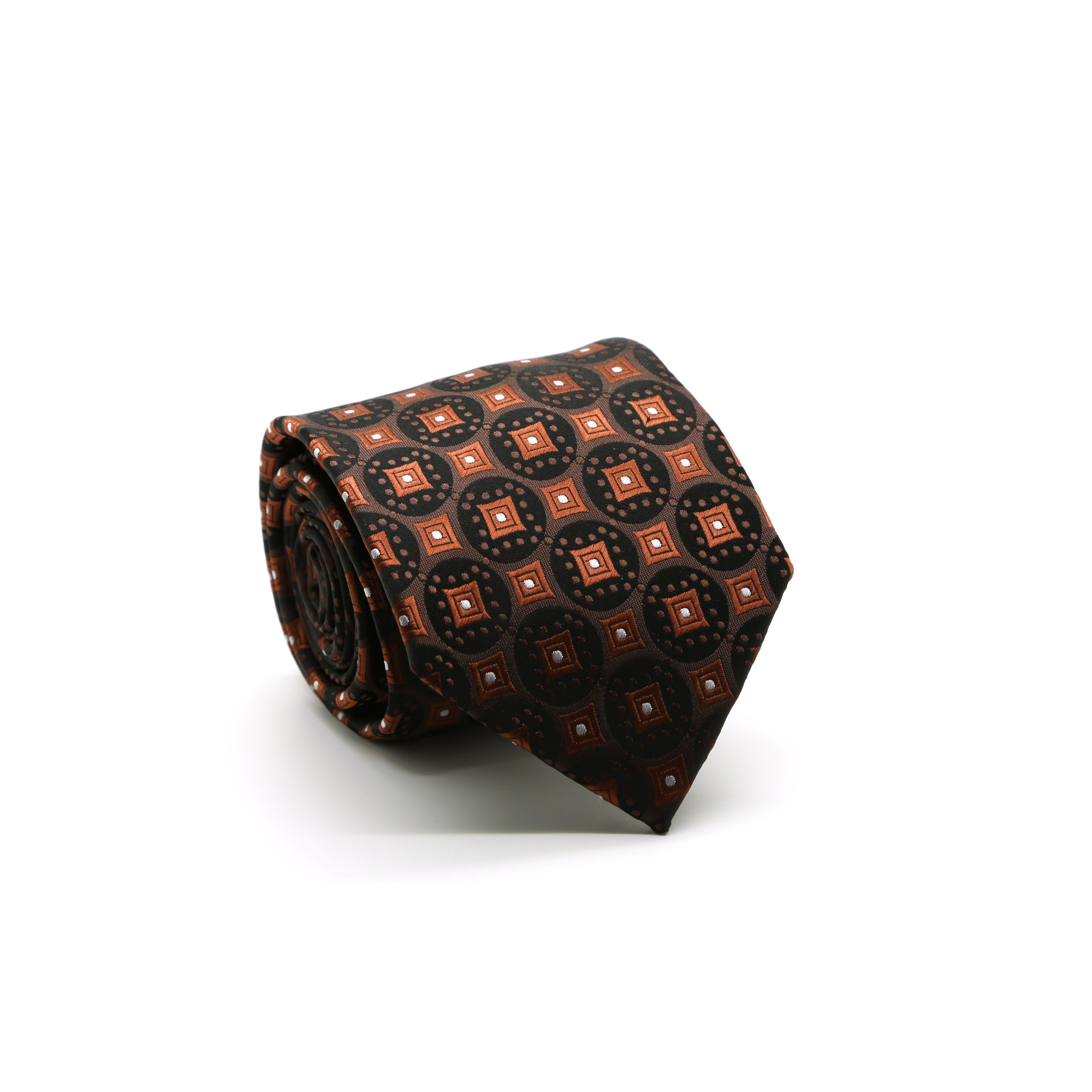 Mens Dads Classic Brown Geometric Pattern Business Casual Necktie & Hanky Set I-2