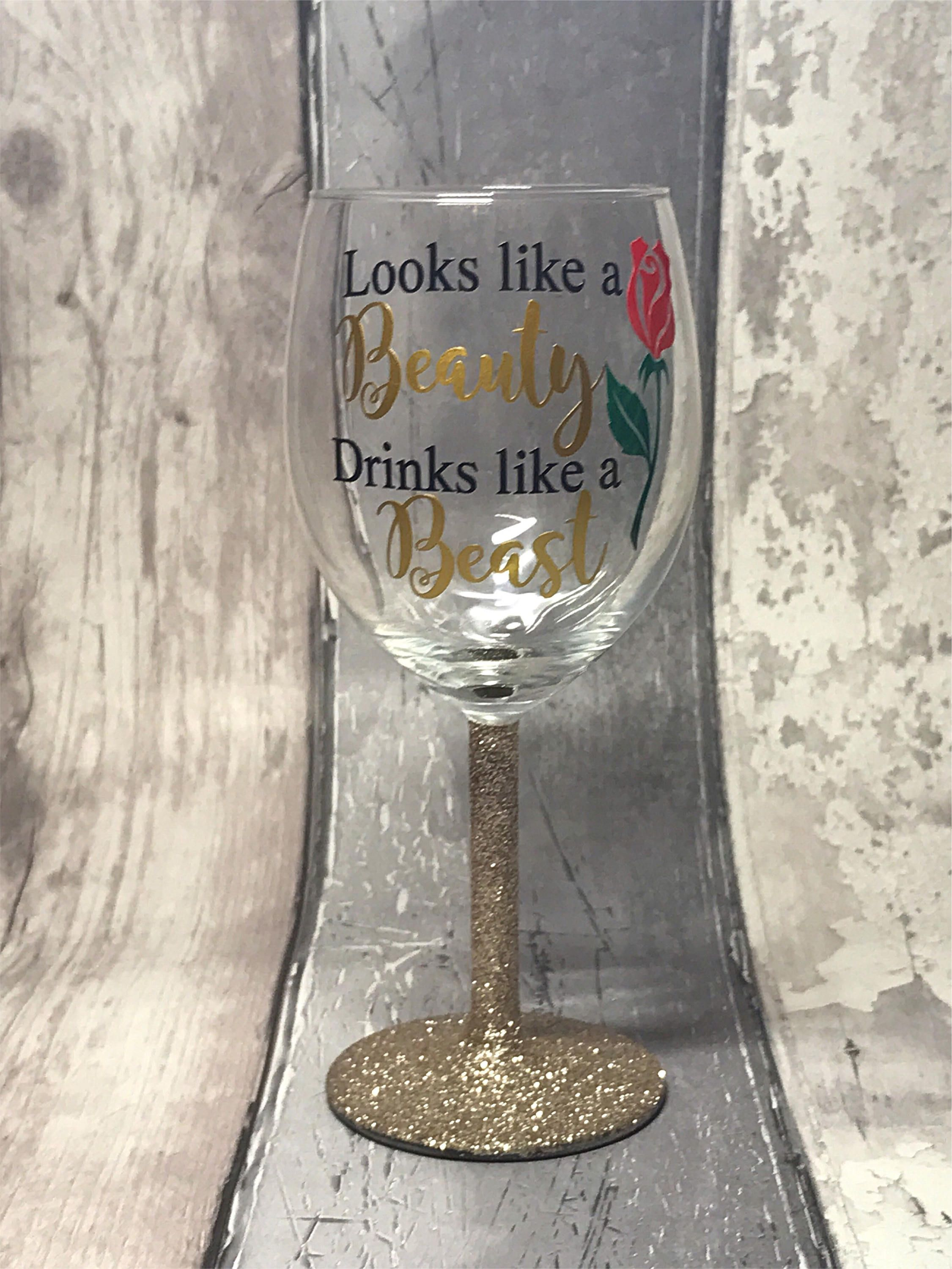 Beauty /& The Beast. WINE GLASS VINYL  DECAL STICKERS