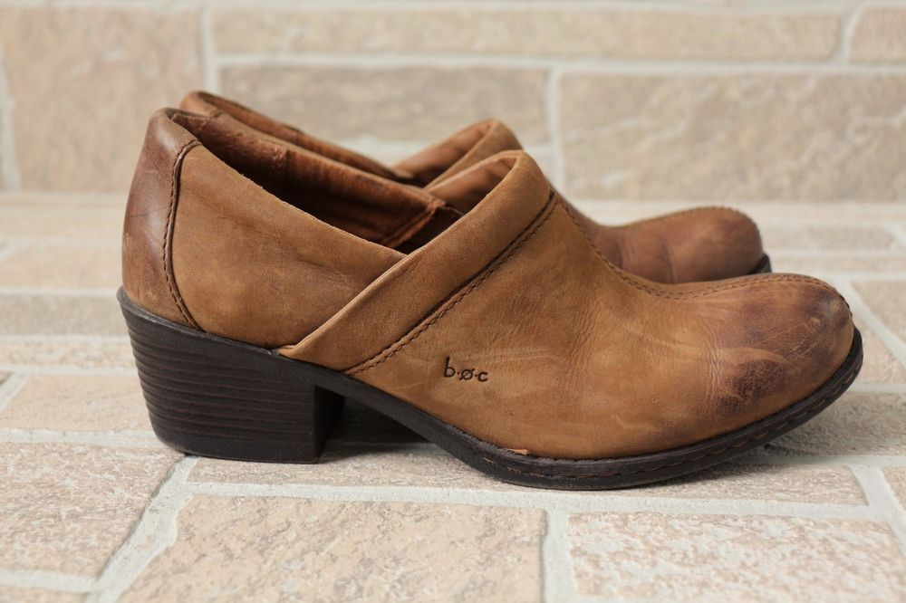 8edc341a4 BOC Born Concept Brown Leather Slip On Heeled Clogs Mules Booties Womens 8  39  Born  Clogs  Any