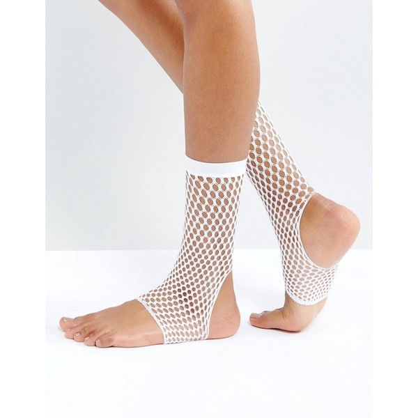 ba6f4abb91957 ASOS Stirrup Fishnet Ankle Socks In White ($6.40) ❤ liked on Polyvore  featuring intimates, hosiery, socks, white, white hosiery, sheer hosiery,  see through ...