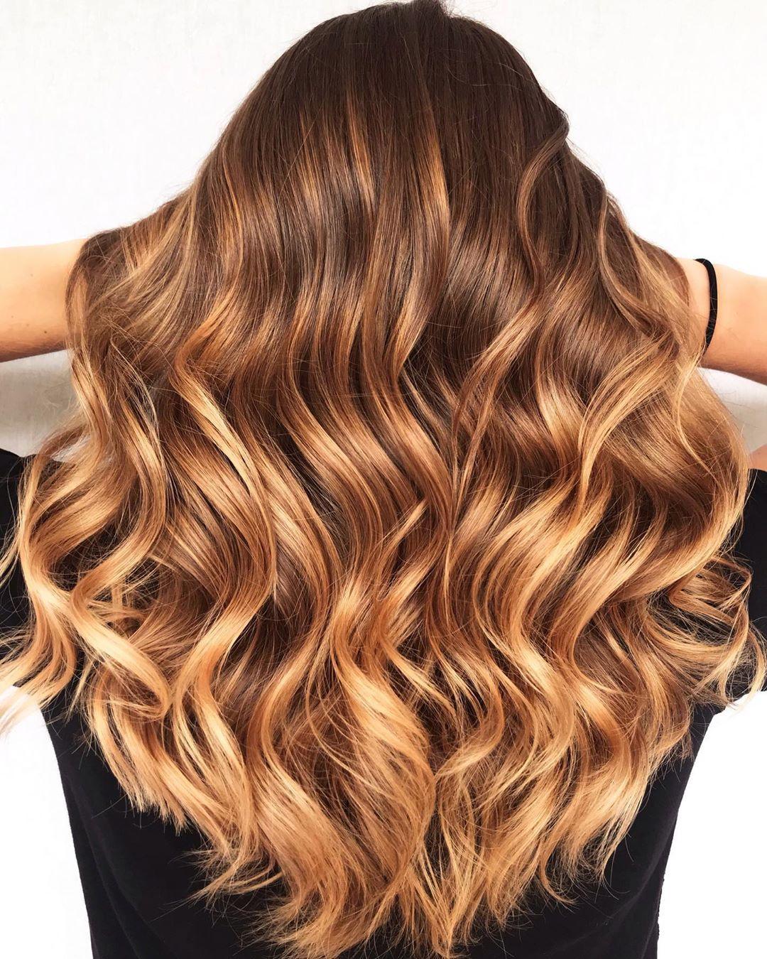 50++ Golden caramel hair color trends