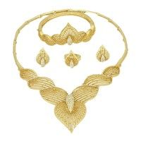 Wish | Quality Royal Jewelry Sets 18K Gold Plated African Dubai Gold Jewelry Sets Women Wedding Fashion Accessories  (Color: Gold)