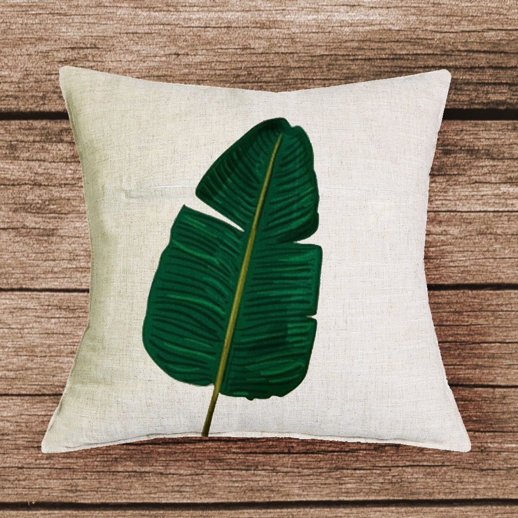 Cushion cover tropical pillow plant green leaves printed home africa