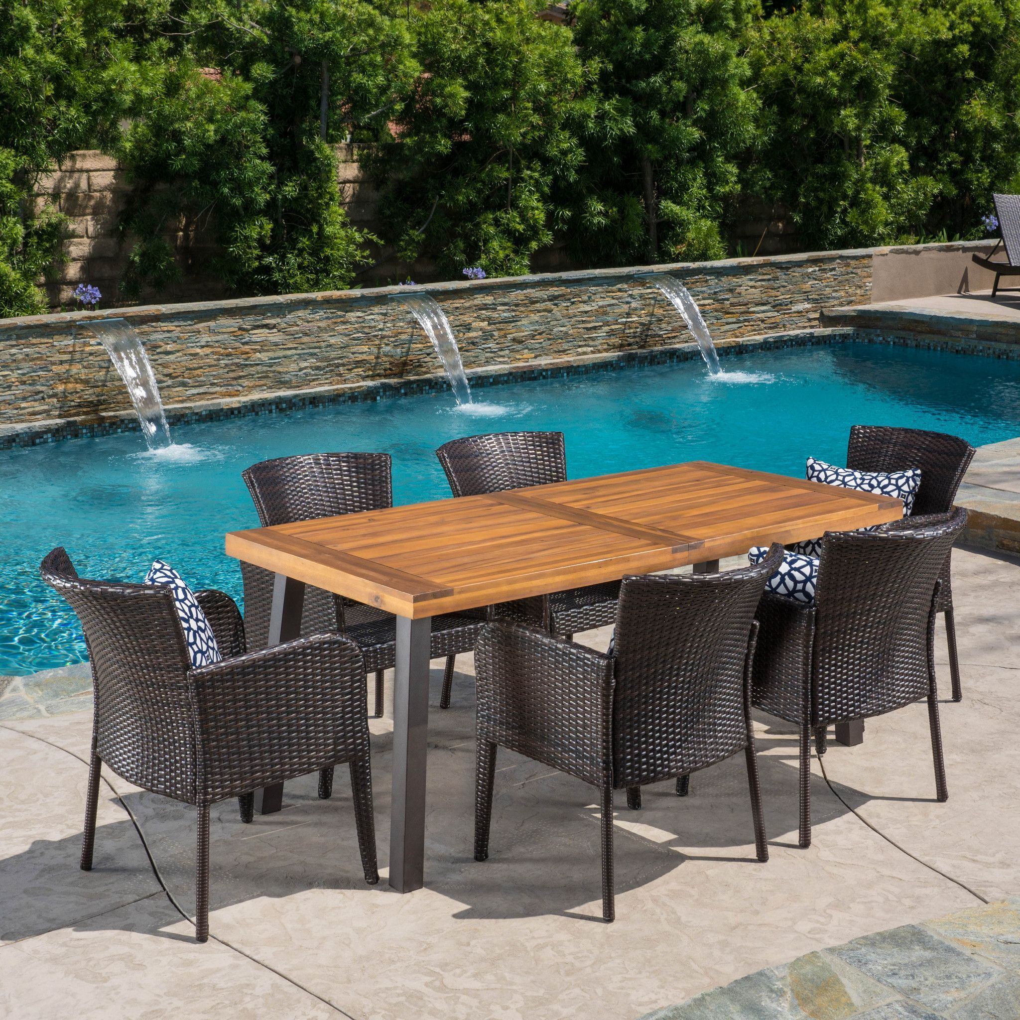 ad helton 7 piece outdoor dining set wood table w wicker chairs