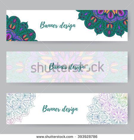 Website header or banner set with floral mandala design. Ready for ...