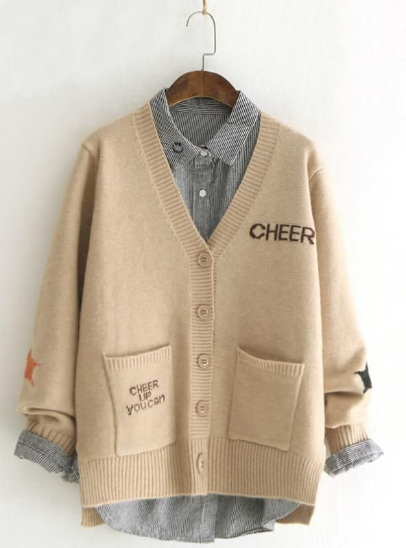 Sweater Loose Maple Leaf Letter Student Knitted Cardigan – Fashion