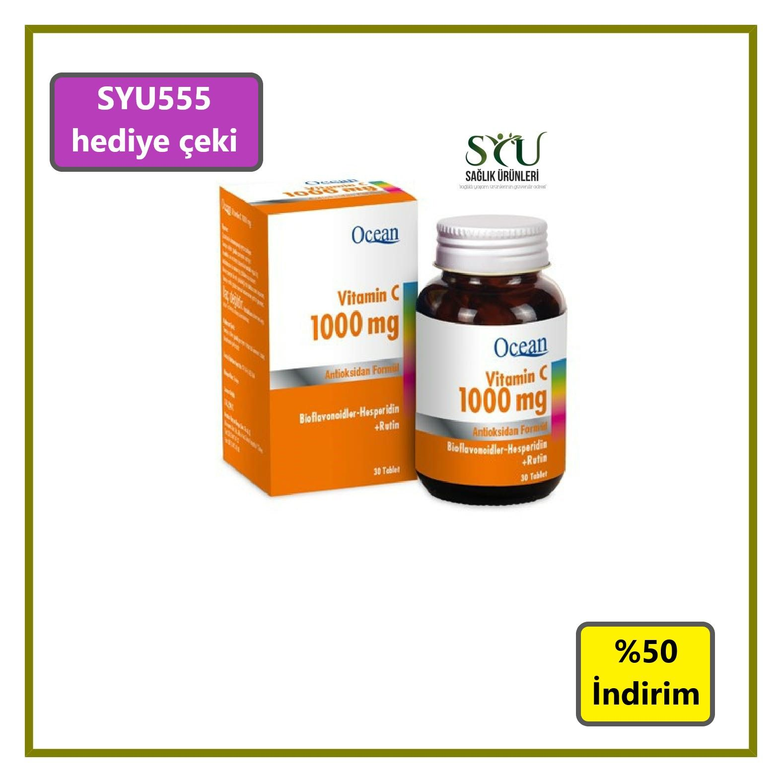 Ocean Vitamin C 1000 Mg 30 Tablet Fiyati 49 50 Tl Saglikli Yasam Urunleri Guvenilir Adresi Syu Com Tr Vitamin Vitaminler Saglikli Yasam