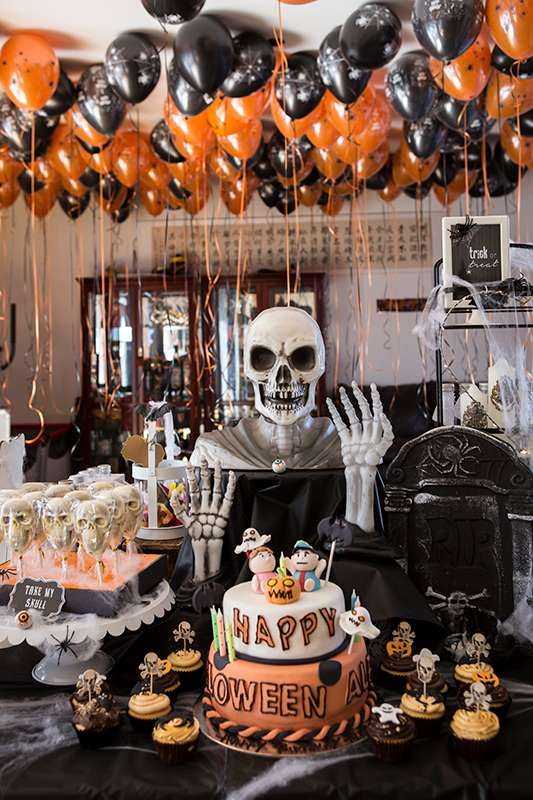 Creepy Halloween Party   CatchMyParty.com #catchmyparty #partyideas #halloween #…